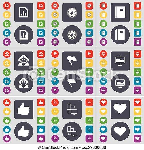 Diagram file lens notebook avatar flag graph like connection diagram file lens notebook avatar flag graph like connection heart icon symbol a large set ccuart Gallery