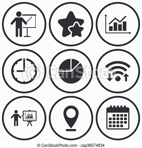 Diagram Graph Pie Chart Presentation Billboard Clock Wifi And