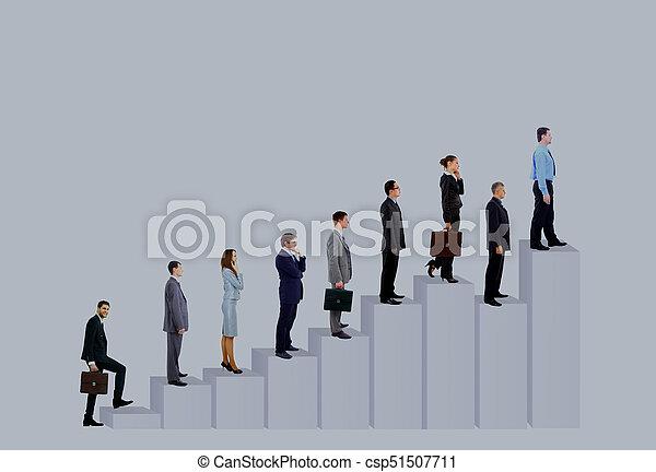 diagram., pessoas negócio, sobre, isolado, fundo, equipe, branca - csp51507711