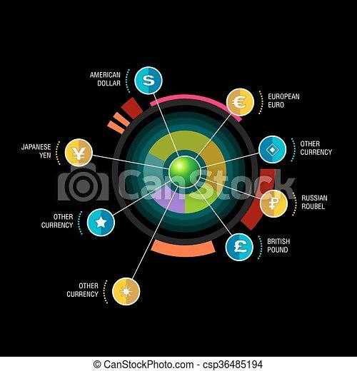 diagram, szablon, wskazówki, infographic, projektować, belka, okrągły - csp36485194