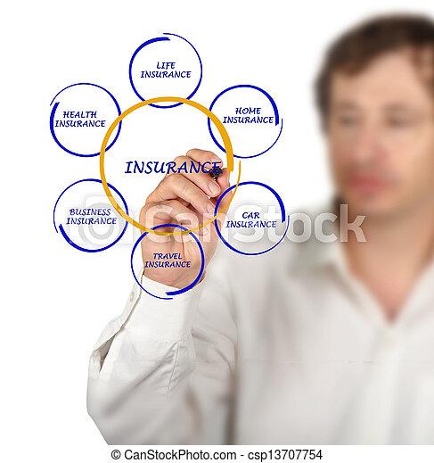 diagrama, apresentando, seguro - csp13707754