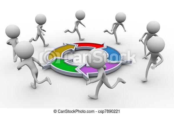 3D personas corriendo alrededor del diagrama - csp7890221