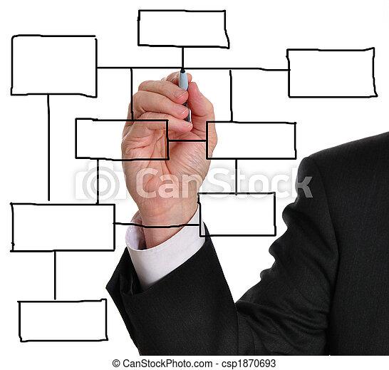 diagrama, empresa / negocio, blanco - csp1870693
