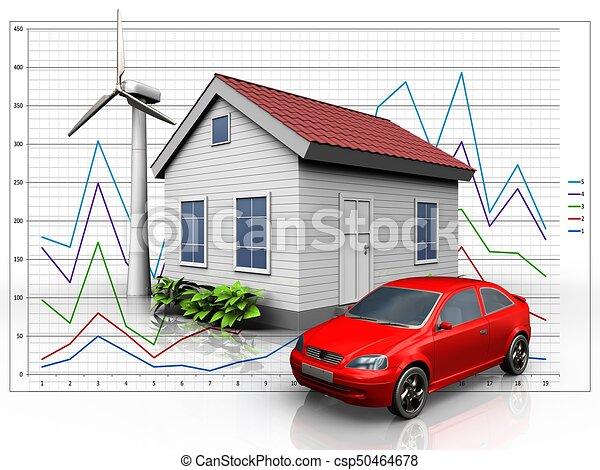 Diagramm, auto, aus, 3d. Auto, energie, abbildung, diagramm ...