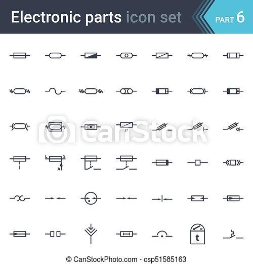 Diagramm, satz, elektrisch, schutz, symbole, sicherungen,... Clipart ...