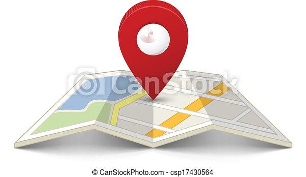 Karte mit einer Nadel - csp17430564