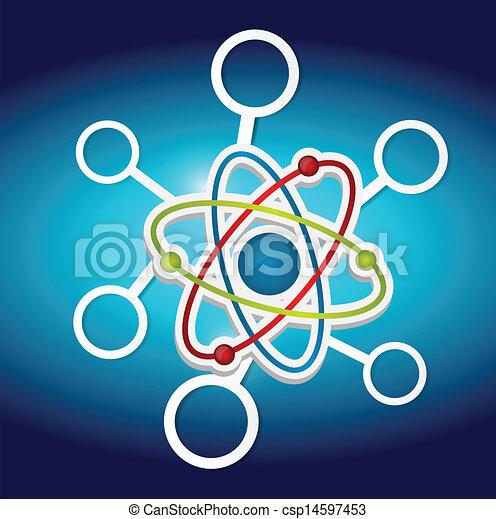 Diagramm, wissenschaft, symbol, atom. Blaues, wissenschaft ...