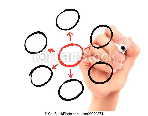 diagramme, dessiné, 3d, vide, main - csp22929374