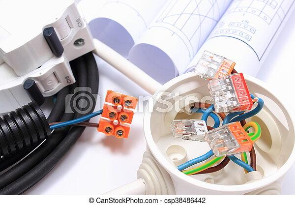 Diagramme, elektrische komponenten, installationen, brötchen. Kupfer ...