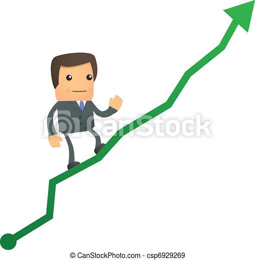 diagramme, homme affaires, haut, dessin animé, escalade - csp6929269
