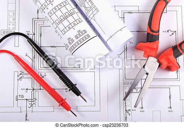 Diagramme, multimeter, metall, elektrisch, zange, kabel. Stellen ...