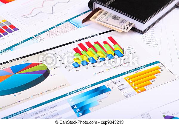 diagrammen, tafel., grafieken, zakelijk - csp9043213