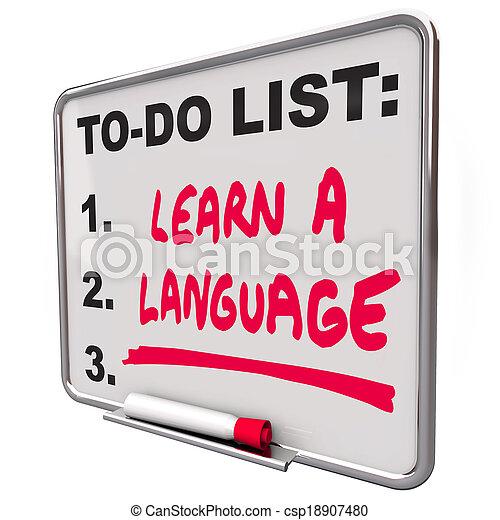 dialekt, språk, lista, utländsk, erfara, skicklighet, utbildning - csp18907480