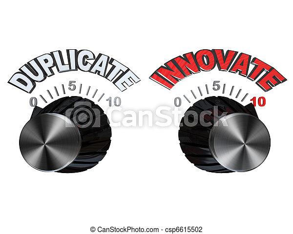 Marcas - perillas giradas de duplicado a innovar - csp6615502