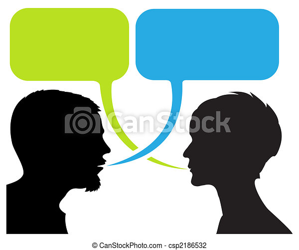 dialogue comic strip with silhouettes - csp2186532