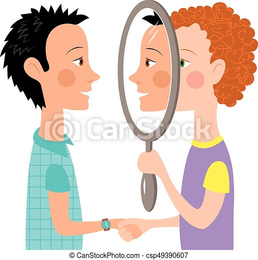 Dialogue two people mirror - csp49390607