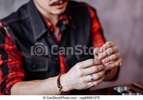 diamant, tenue, craftsman's, mains - csp66691375
