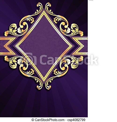 diamante, oro, modellato, viola, &, bandiera - csp4082799