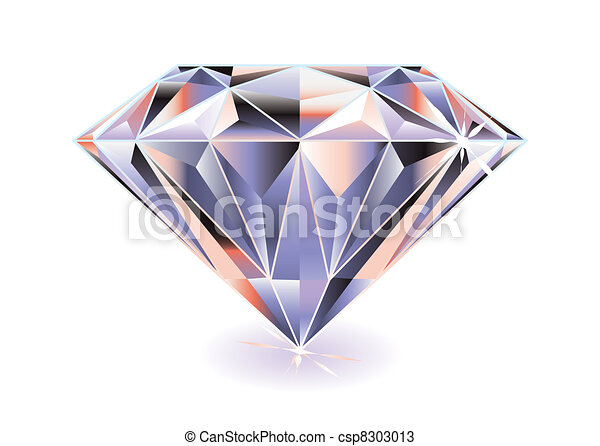Line Drawing Diamond : Diamond bright. artistic brightly coloured cut with