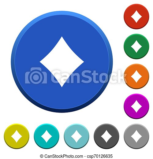 Diamond card symbol beveled buttons - csp70126635