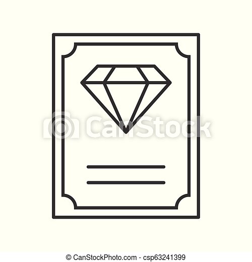 diamond certificate, jewelry related, outline vector icon - csp63241399
