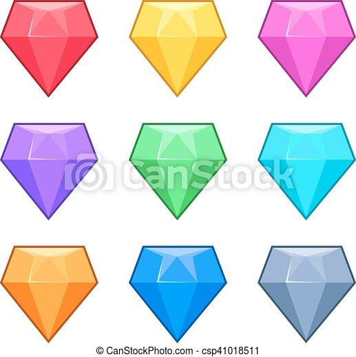 diamond crystal gems isolated on white cartoon vector set vector rh canstockphoto com vector diamond ring vector diamond ring
