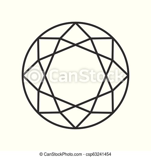 diamond cut, jewelry related outline vector icon - csp63241454