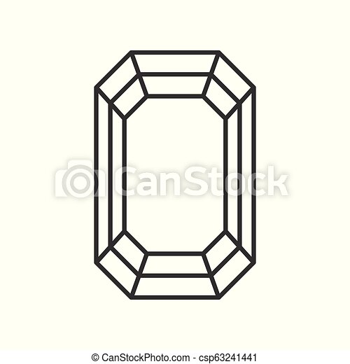 diamond cut, jewelry related outline vector icon - csp63241441
