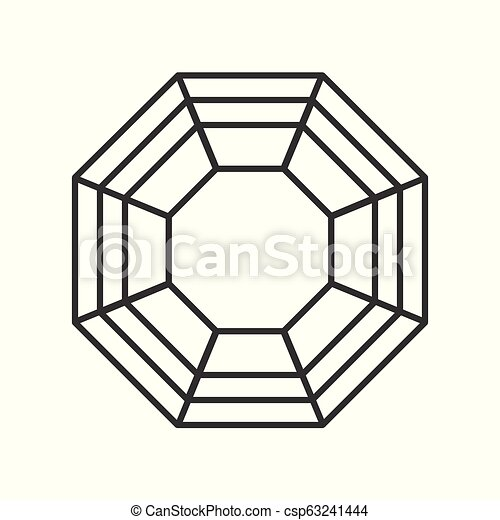 diamond cut, jewelry related outline vector icon - csp63241444