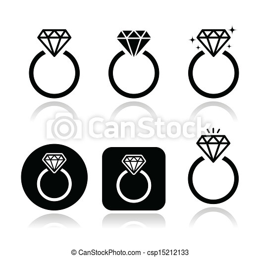 Diamond engagement ring vector icon - csp15212133