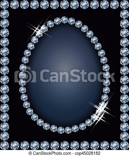 Diamond frame Easter egg , vector illustration - csp45028182