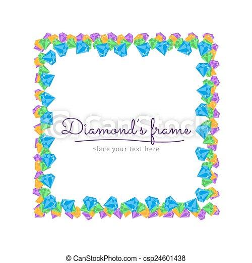 diamond frame flat vector square frame border with diamond rh canstockphoto com