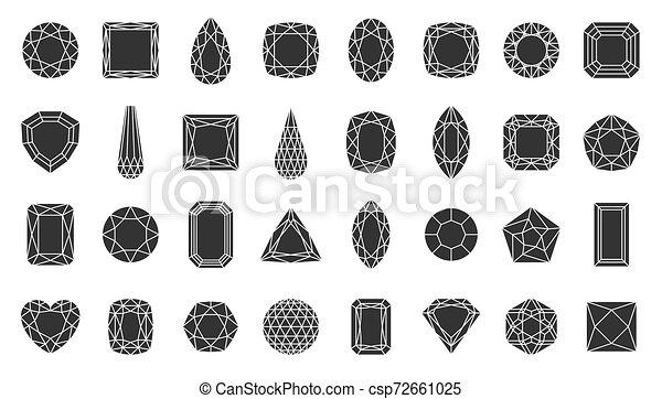 Diamond gem jewel stone silhouette icon vector set - csp72661025