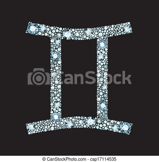 Diamond Gemini Symbol Gemini Symbol Made Of Gems