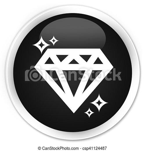 Diamond icon black glossy round button - csp41124487