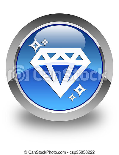Diamond icon glossy blue round button - csp35058222