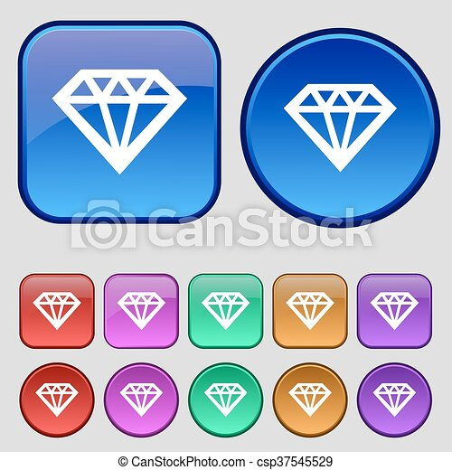 Diamond icon sign. A set of twelve vintage buttons for your design. Vector - csp37545529