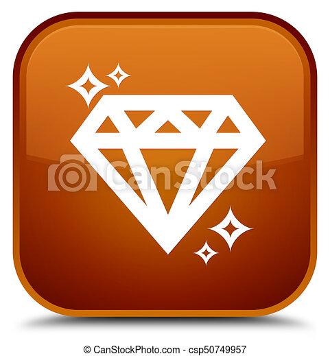 Diamond icon special brown square button - csp50749957