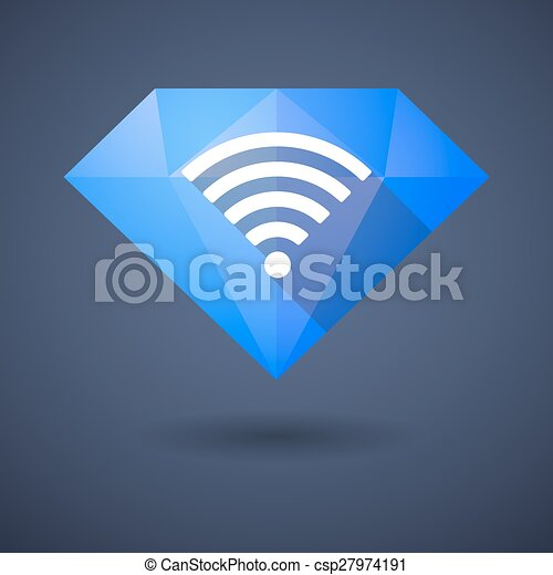 Diamond icon with a radio signal sign - csp27974191