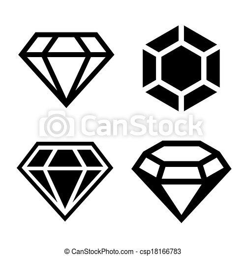 Diamond Icons Set Easy Clear Shape