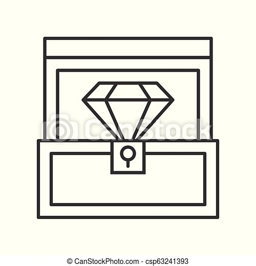 diamond in box, jewelry related, outline icon - csp63241393