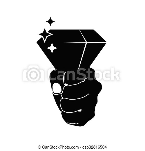 diamond in hand vector on black - csp32816504