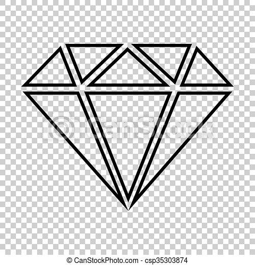 diamond line vector icon on transparent background vectors rh canstockphoto com diamond clip art transparent background Transparent Loose Diamonds