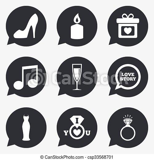 diamond., obietnica, ślub, ring, icons. - csp33568701