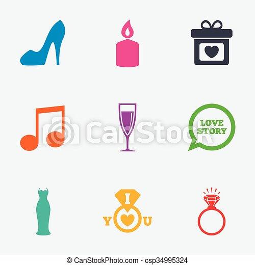 diamond., obrigação, casório, anel, icons. - csp34995324
