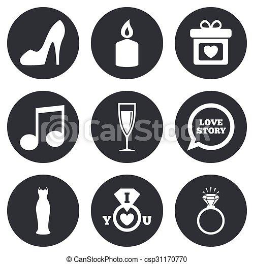 diamond., obrigação, casório, anel, icons. - csp31170770