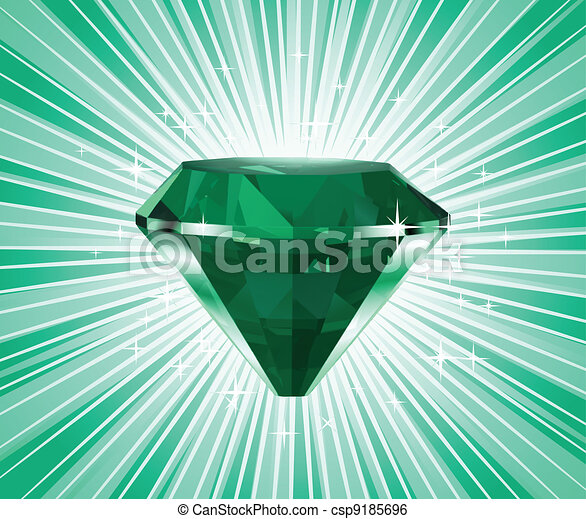 Diamond on a green background. Vector - csp9185696