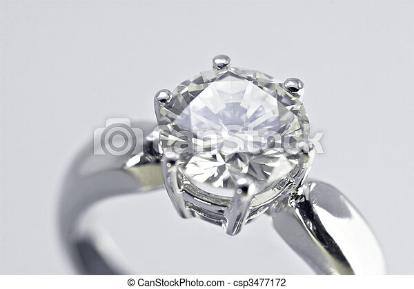 Diamond ring Closeup of a two carat diamond solitaire ring stock