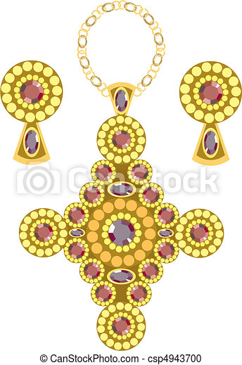Diamond shaped pendant with earrings made from gold vector clipart diamond shaped pendant csp4943700 aloadofball Image collections