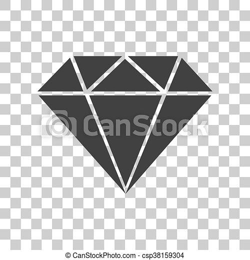 diamond sign illustration dark gray icon on transparent vector rh canstockphoto co uk Diamond Transparent Background Diamond Ring Clip Art Transparent